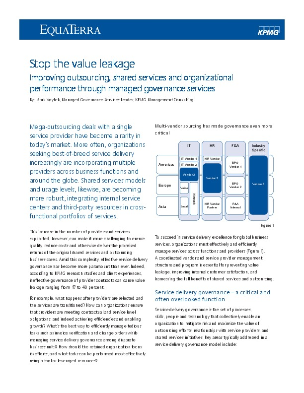 Stop the value leakage | The Shared Services & Outsourcing