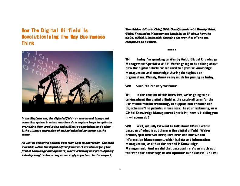 Oil & Gas IQ | How The Digital Oilfield Is Revolutionising The Way ...