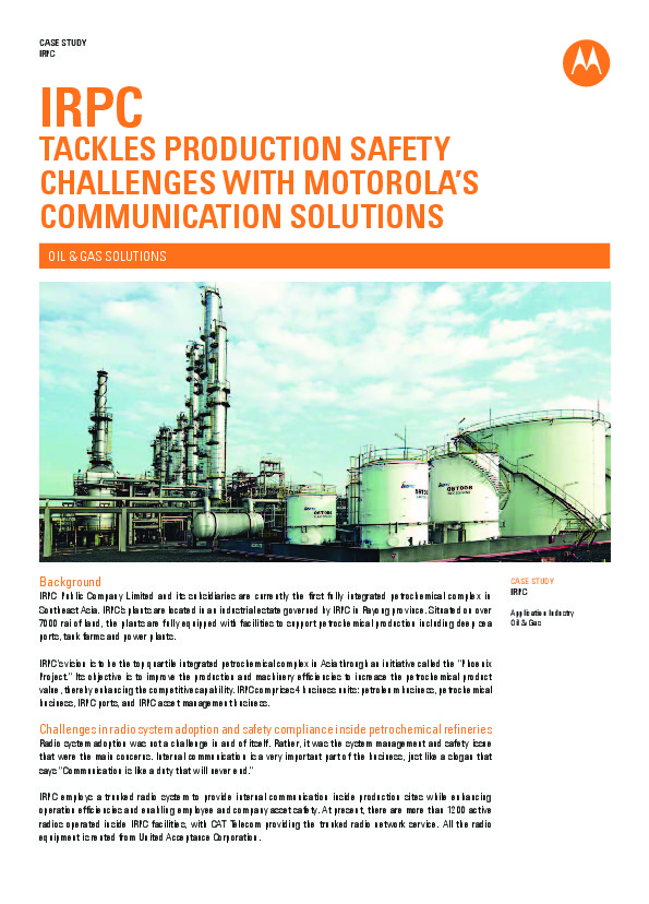 a5577b1834ea CASE STUDY  IRPC Tackling Production Safety Challenges With Motorola  Communication Solutions