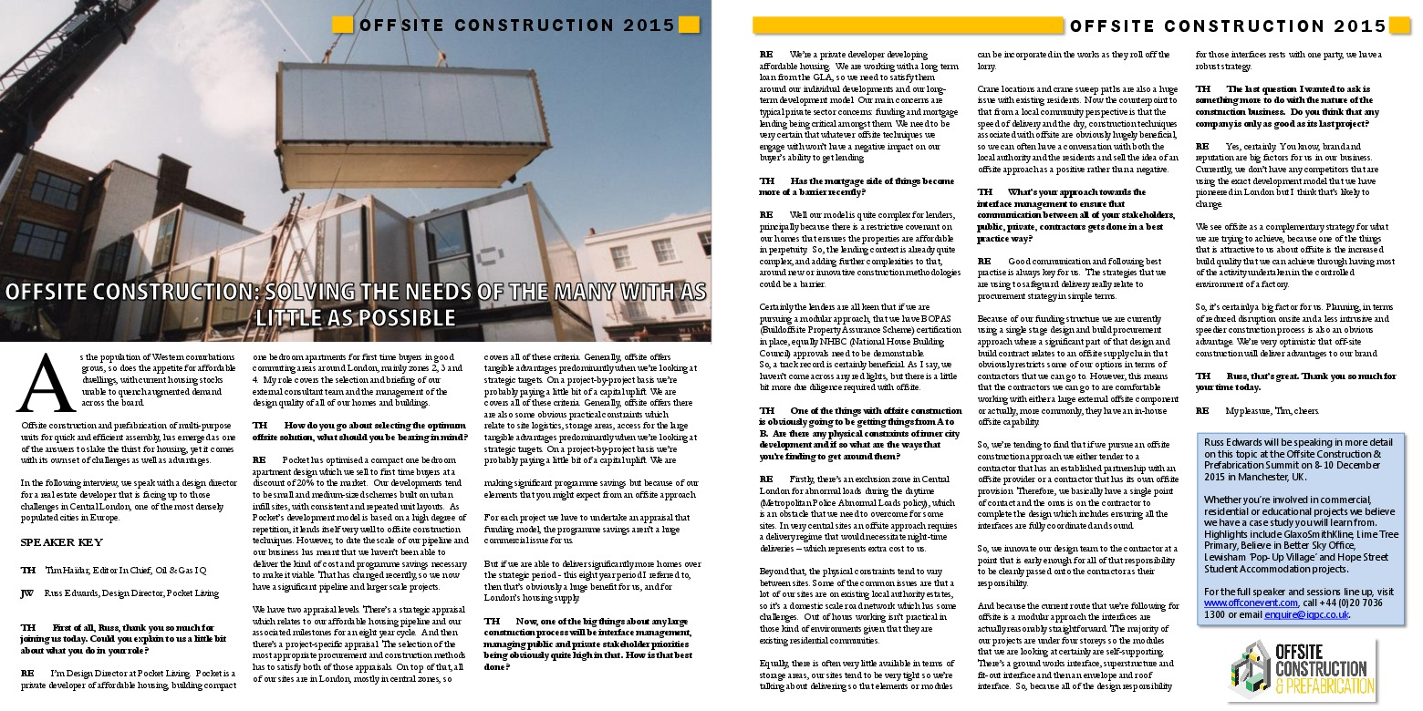 Offsite Construction: Solving The Needs Of The Many With As Little