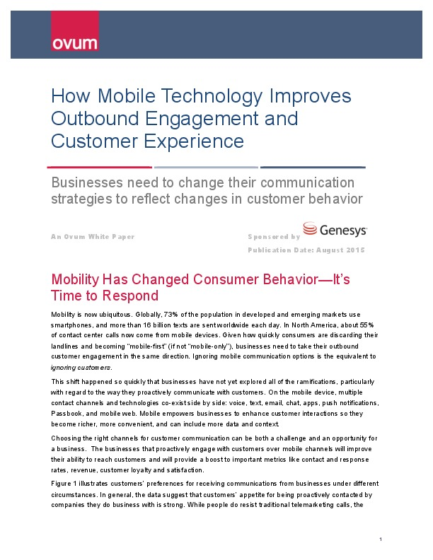 Ovum - How Mobile Technology Improves Outbound Engagement and