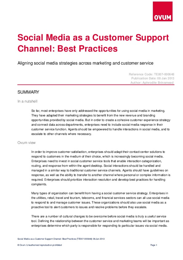 Social Media as a Customer Support Channel: Best Practices