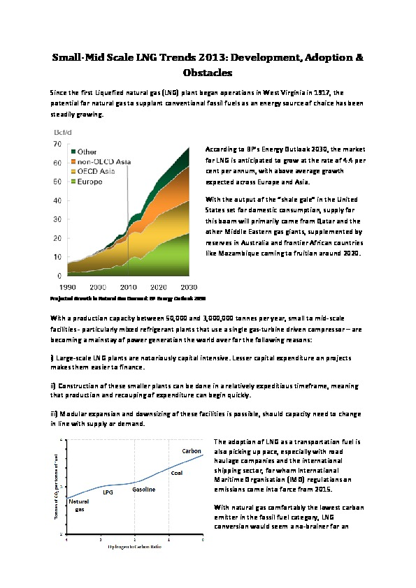 Small-Mid Scale LNG Trends 2013: Development, Adoption