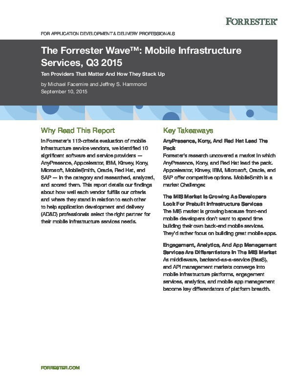 Mobile Infrastructure Services: Ten Providers That Matter
