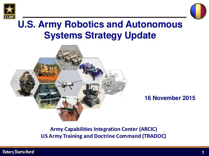 U S  Army Robotics and Autonomous Systems Strategy Update | IDGA
