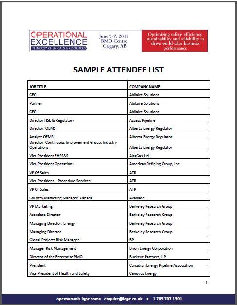 2017 OpEx Calgary Summit Sample Attendee List