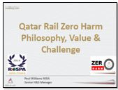 Qatar Rail Zero Harm Philosophy, Value & Challenge