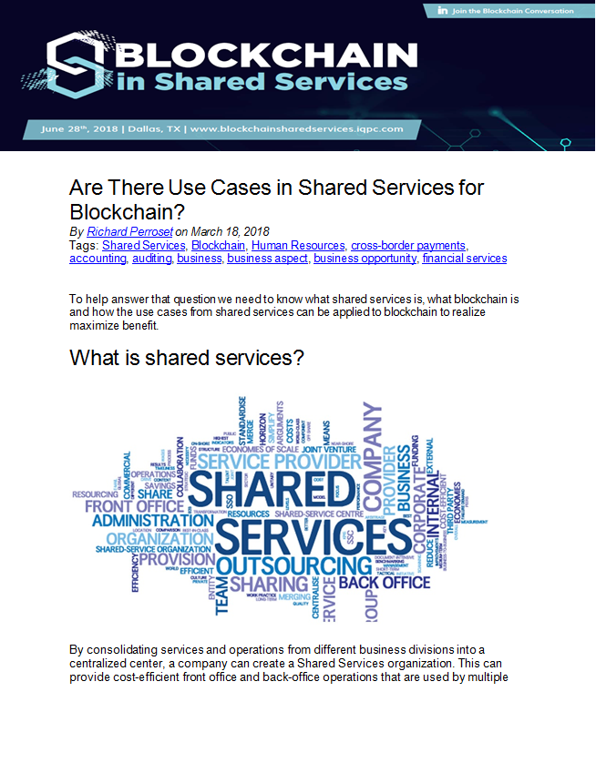 Are There Use Cases in Shared Services for Blockchain?