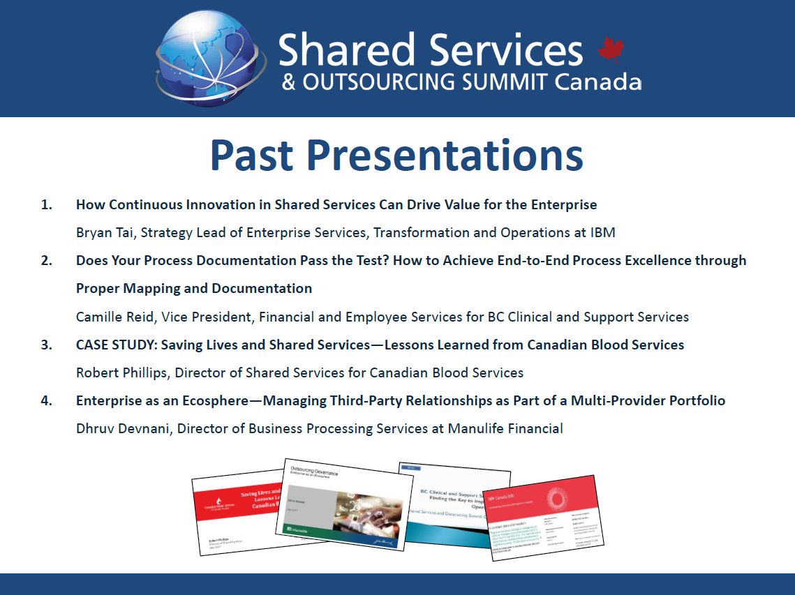 Past Presentations Shared Services & Outsourcing Summit Canada
