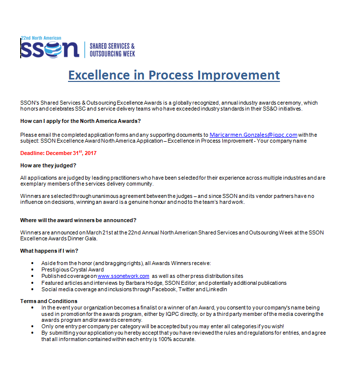 Excellence In Process Improvement Award Application