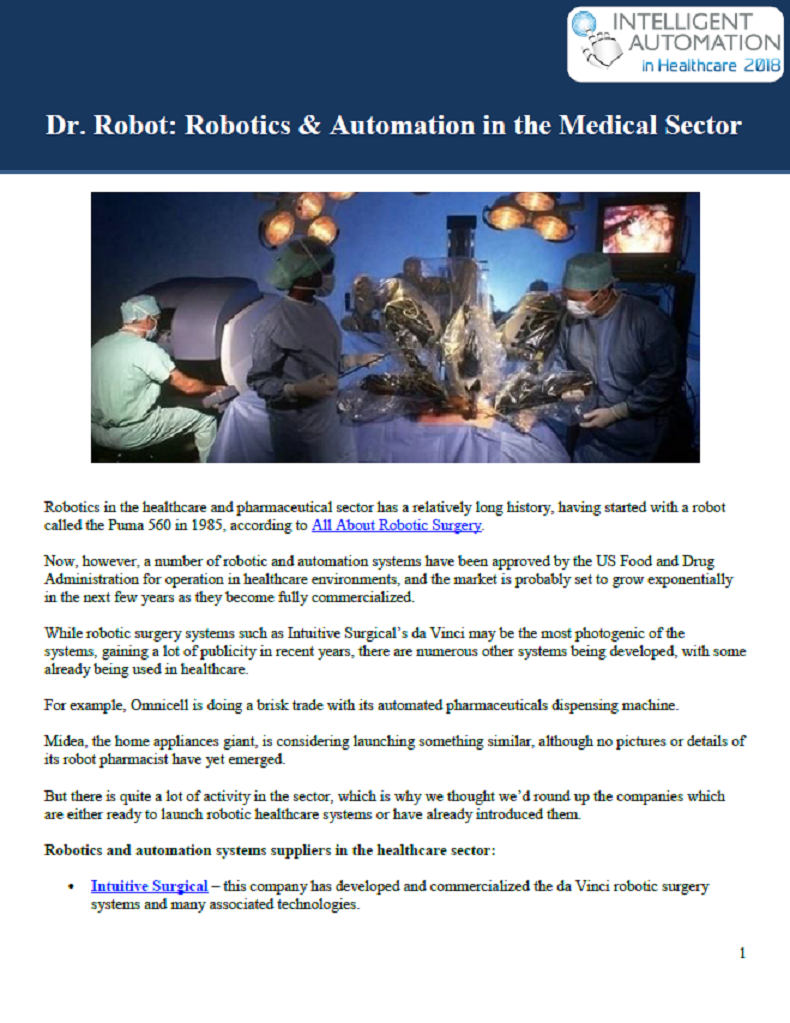 Dr. Robot: Robotics & Automation in the Medical Sector