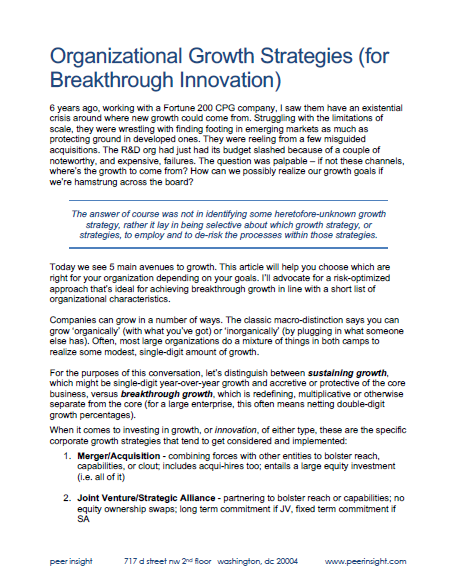 Organizational Growth Strategies (for Breakthrough Innovation)
