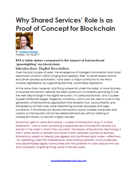 Shared Services' Role: Proof of Concept for Blockchain