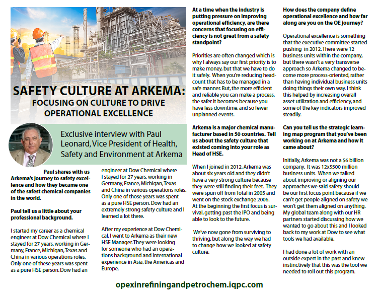 Safety Culture at Arkema: Focusing on culture to drive Operational Excellence