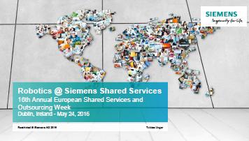 2016 Presentation - Tobias Unger - Robotics at Siemens Shared Services