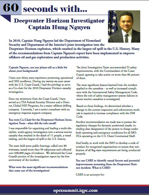 60 Seconds Series: Interview with Deepwater Horizon Investigator Captain Hung Nguyen