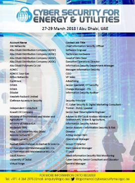Attendee list - 7th Cyber Security for Energy and Utilities