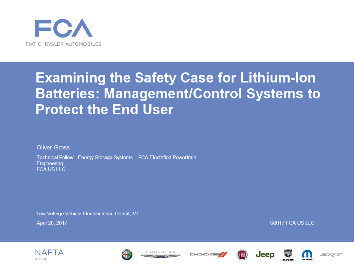 Examining The Safety Case For Lithium Ion Batteries: Management/Control Systems To Protect The End-User