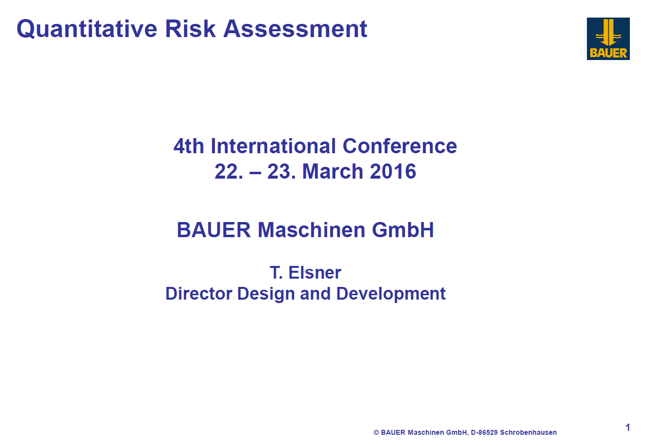 Bauer Maschinen presentation on comparison of the risk assessments of different safety standards for non-road vehicle