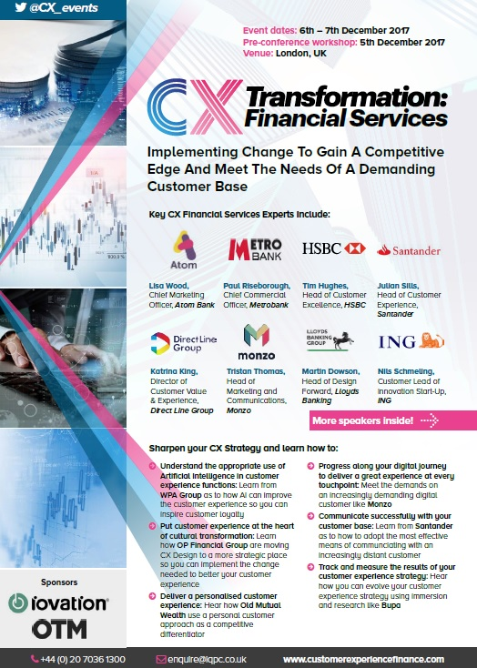 2017 Customer Experience Transformation in Financial Services Agenda