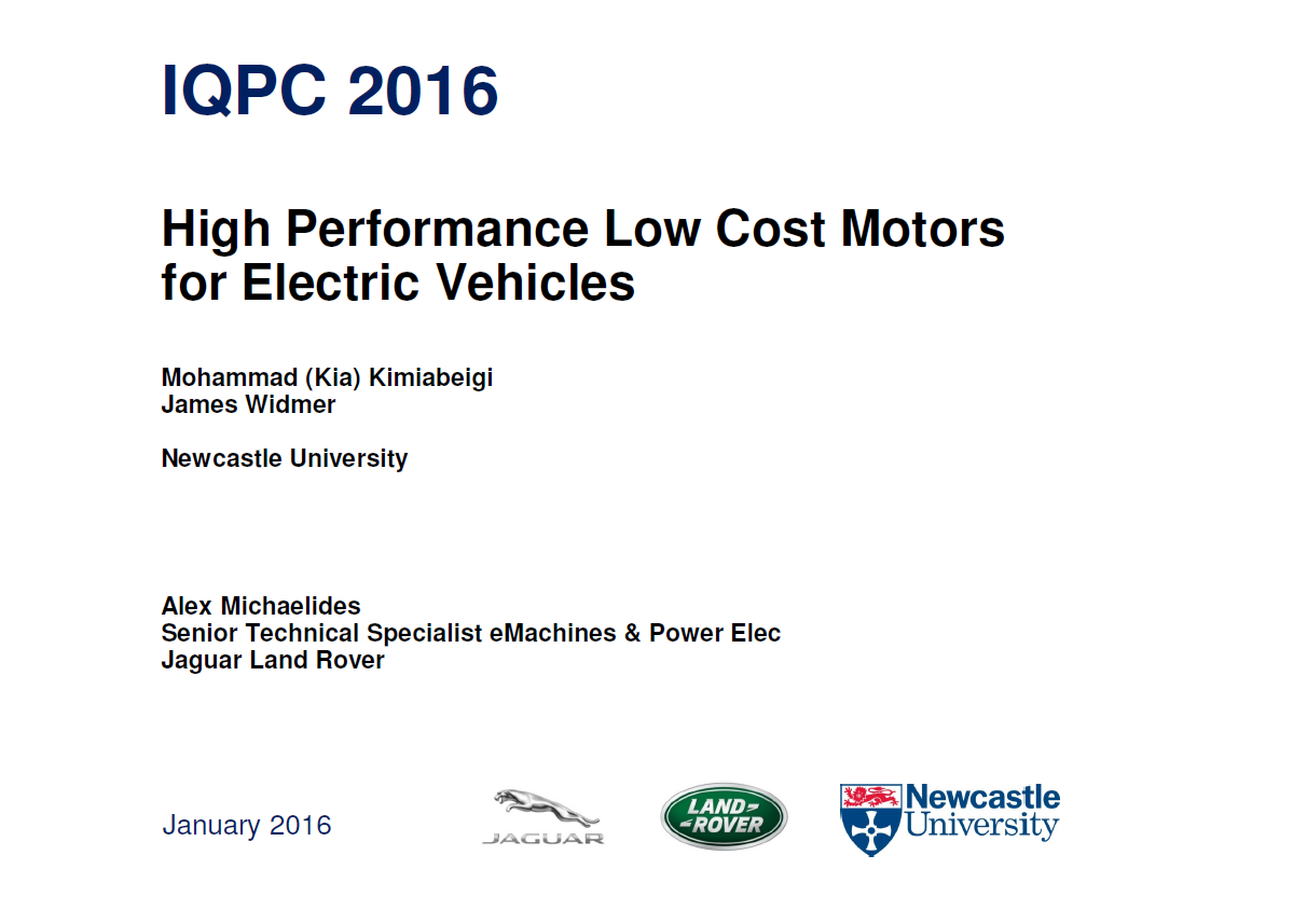 Presentation on High Performance Low Cost Motors for Electric Vehicles