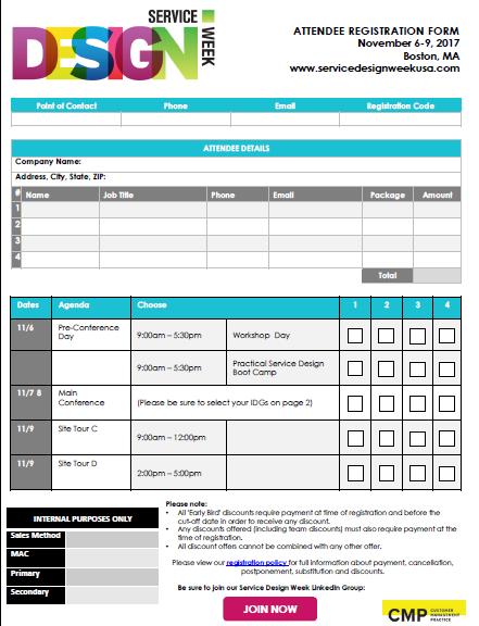 2017 Service Design Week Registration Form