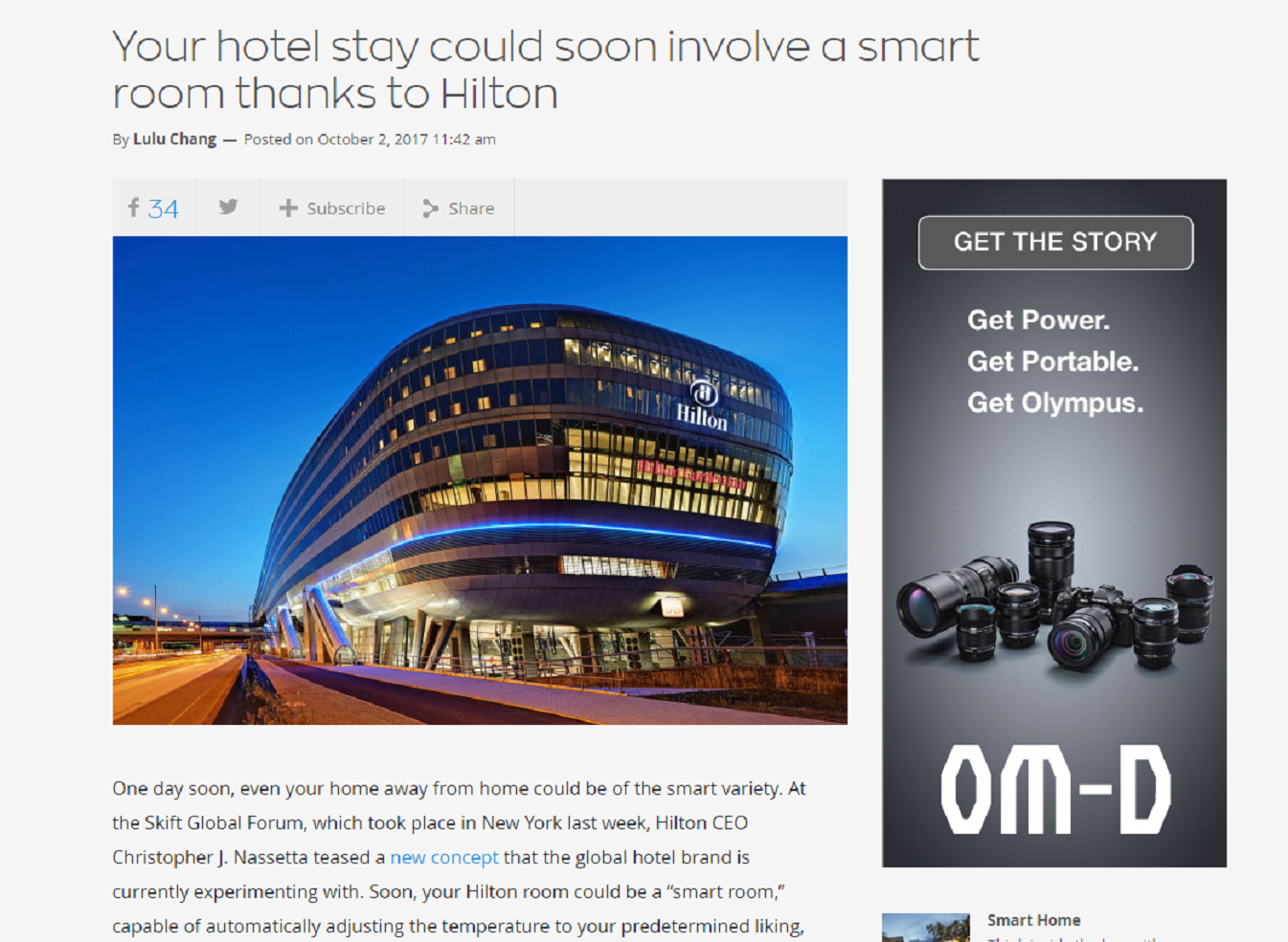 Your Hotel Stay Could Soon Involve a Smart Room Thanks to Hilton