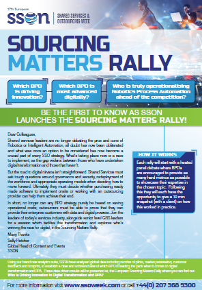 The Sourcing Matters Rally | Shared Services and Outsourcing Week