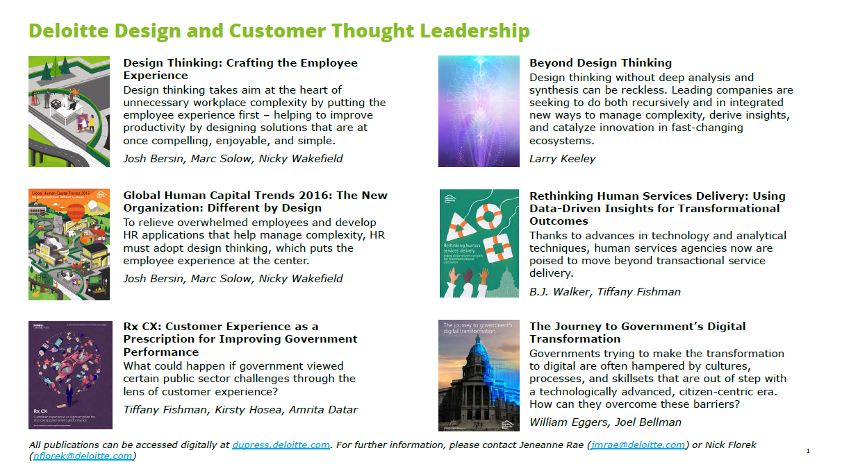 Deloitte Design and Customer Thought Leadership