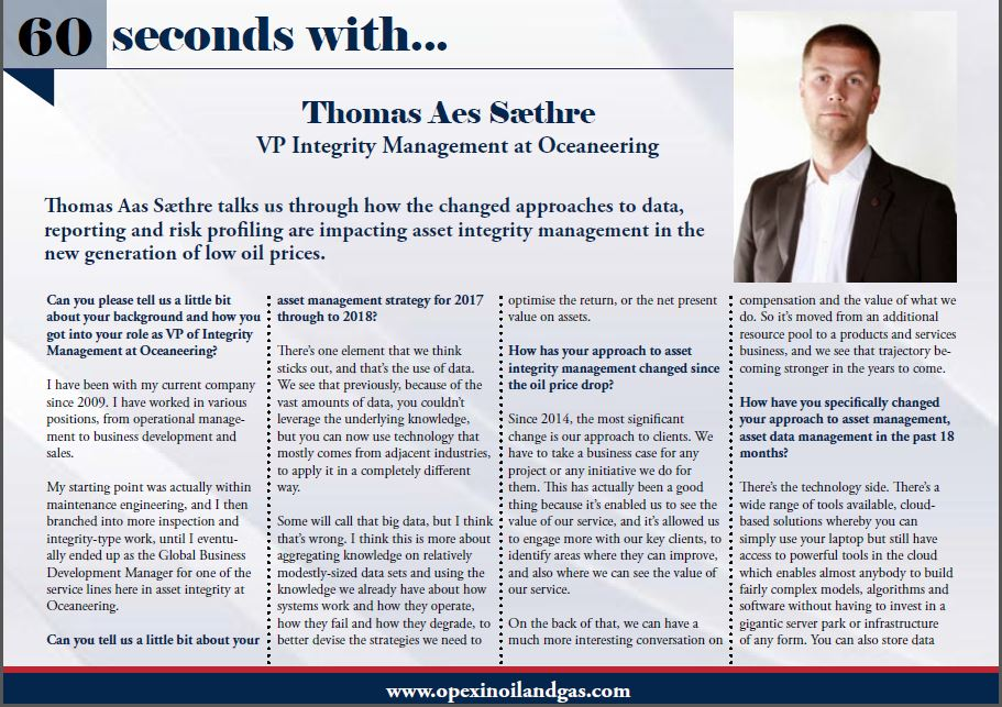 60 Seconds with Thomas Aes Sæthre: Asset Reliability and Integrity Management at Oceaneering