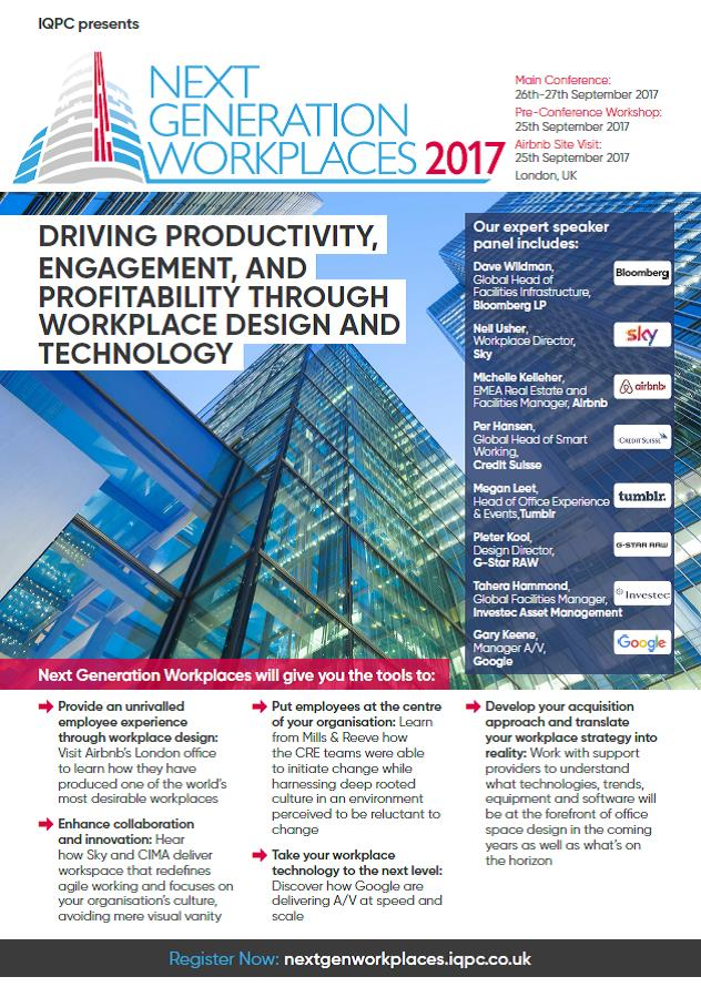 Download the Next Generation Workplaces 2017 Agenda