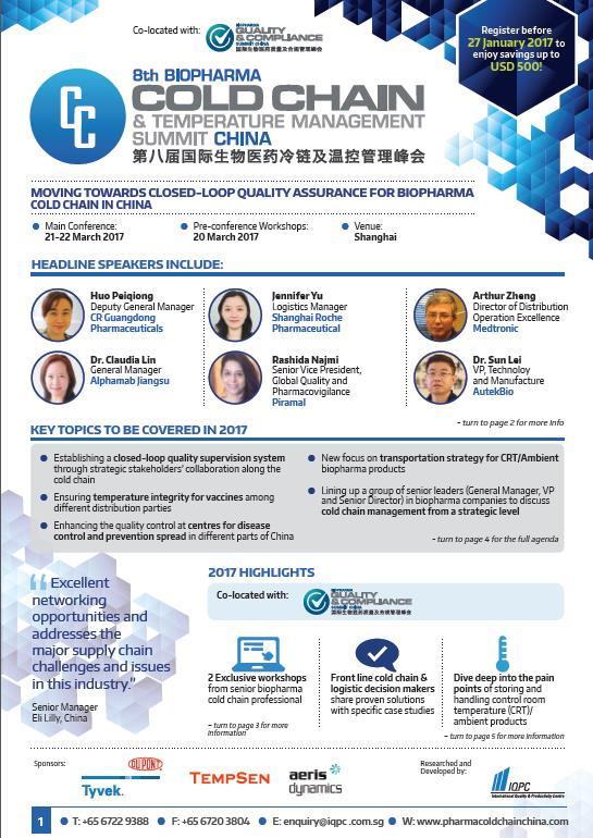 8th Annual Biopharma Cold Chain & Temperature Management China Summit Agenda