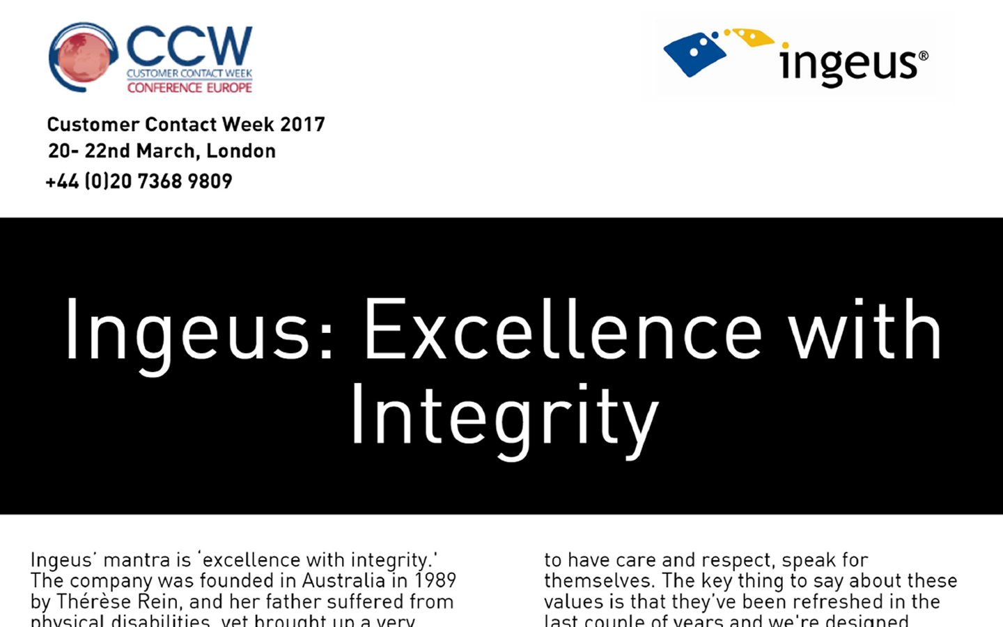 INGEUS: EXCELLENCE WITH INTEGRITY