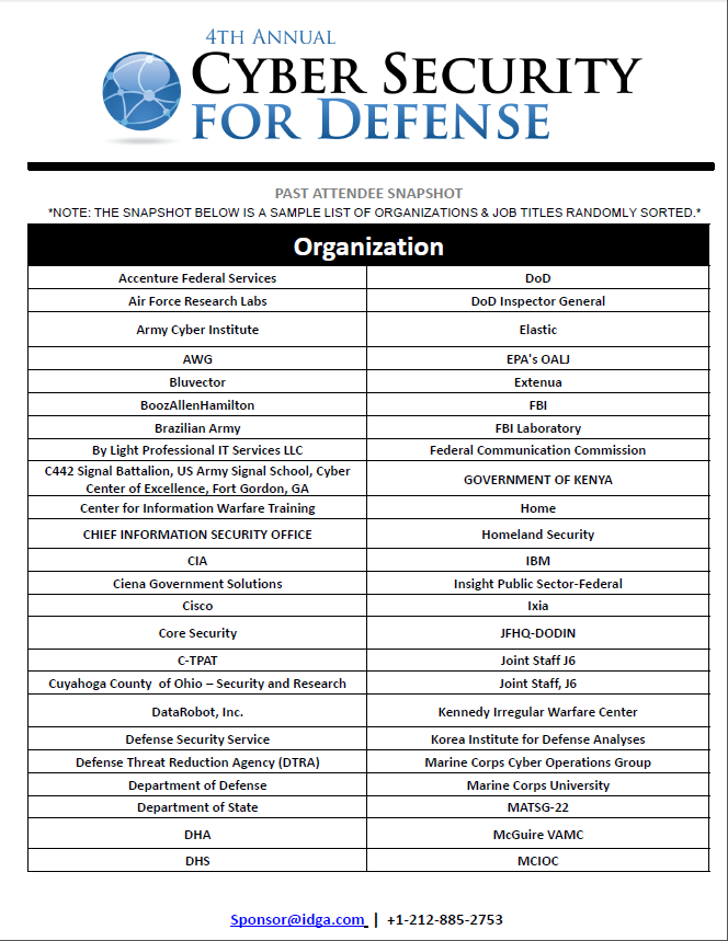 Cyber Security for Defense Attendee List