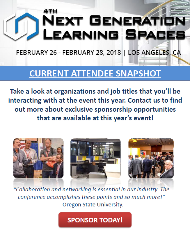 2018 Next Generation Learning Spaces Attendee Snapshot