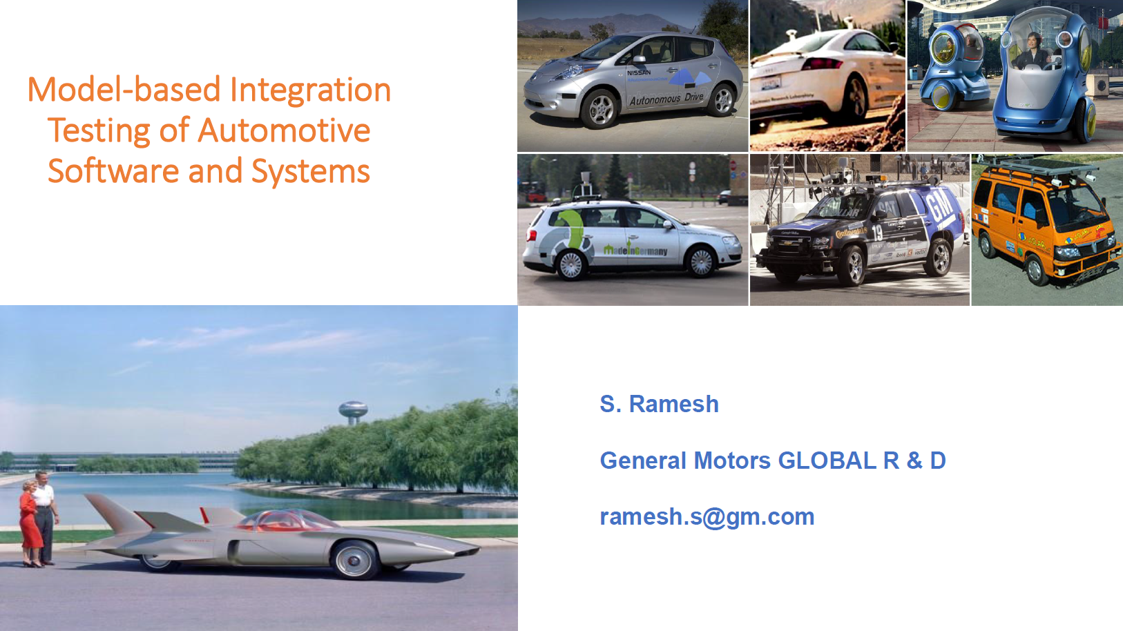 General Motors Presentation on Model-based Integration Testing of Automotive Software and Systems