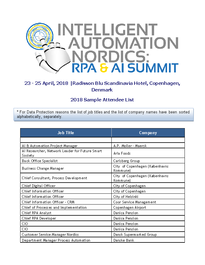 2018 Attendee List