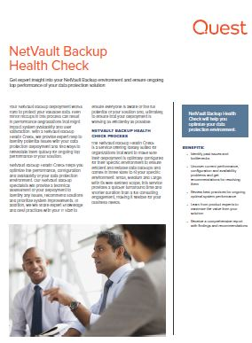 NetVault Backup Health Check