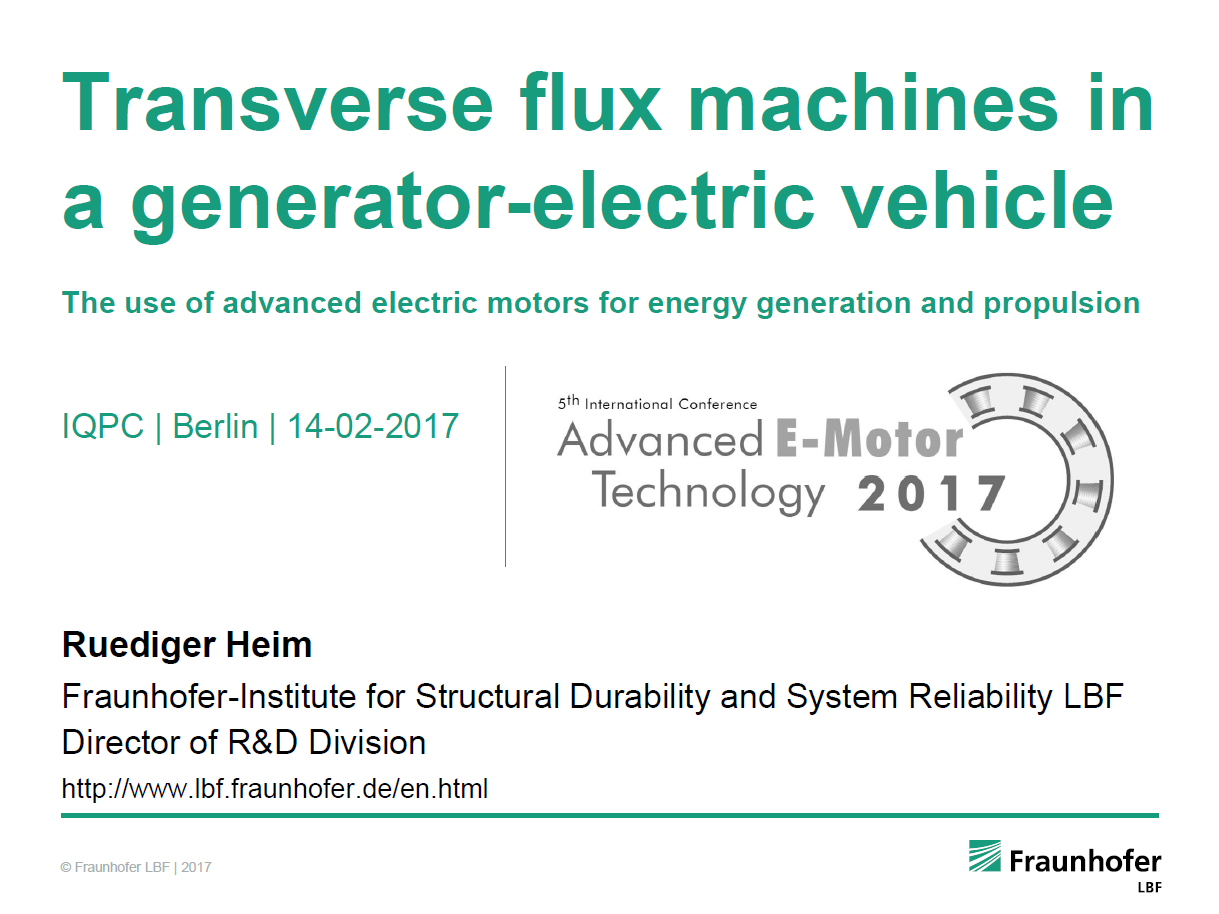 Presentation on advanced electric motors for energy generation and propulsion