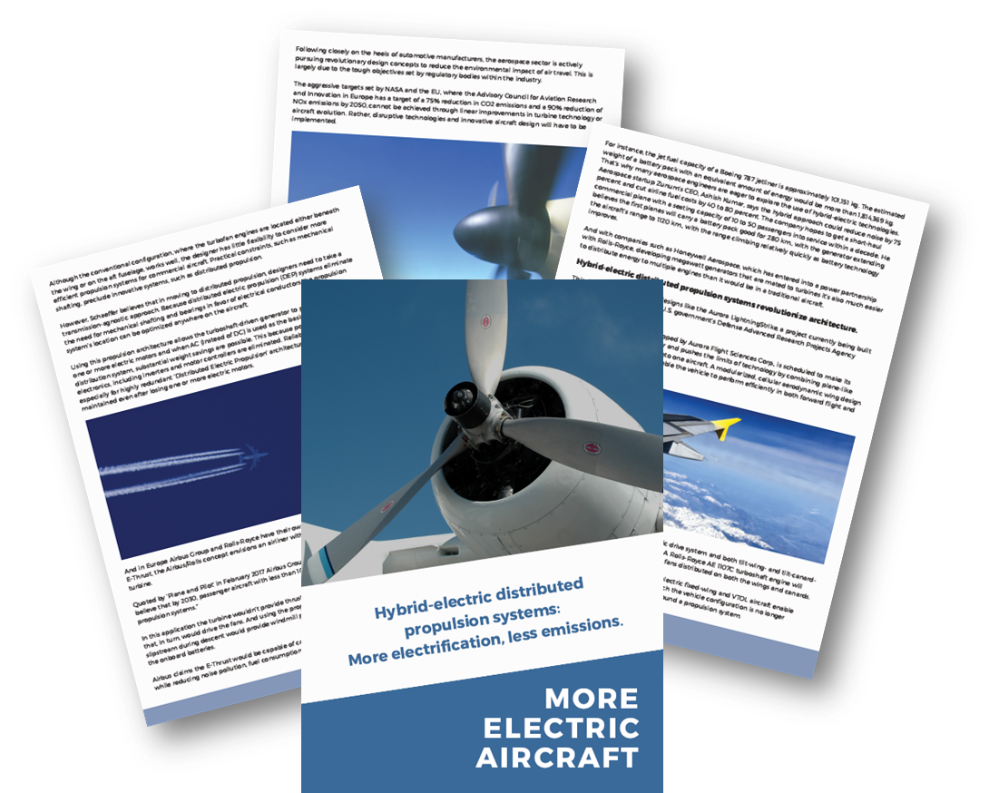 Hybrid-electric distributed propulsion systems: More electrification, less emissions.