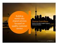 BUILDING WORLD CLASS SHARED SERVICES FOCUSED ON QUALITY CUSTOMER SERVICE