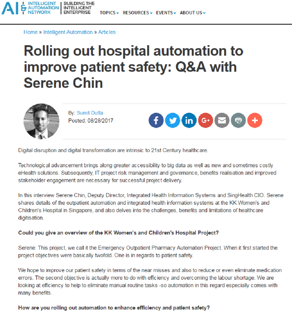 Rolling Out Hospital Automation to Improve Patient Safety: Q&A with Serene Chin
