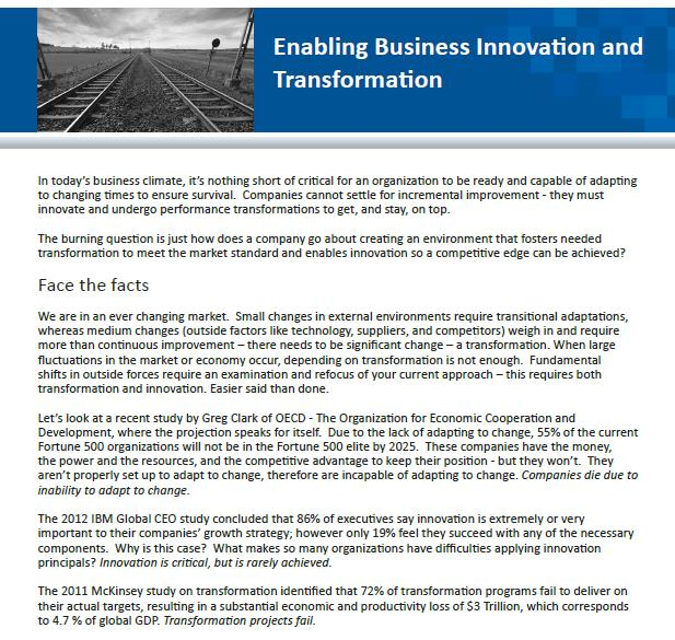 Enabling Business Innovation and Transformation