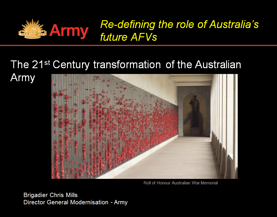 Brigadier General Chris Mills: Re-defining the role of Australia's future AFVs