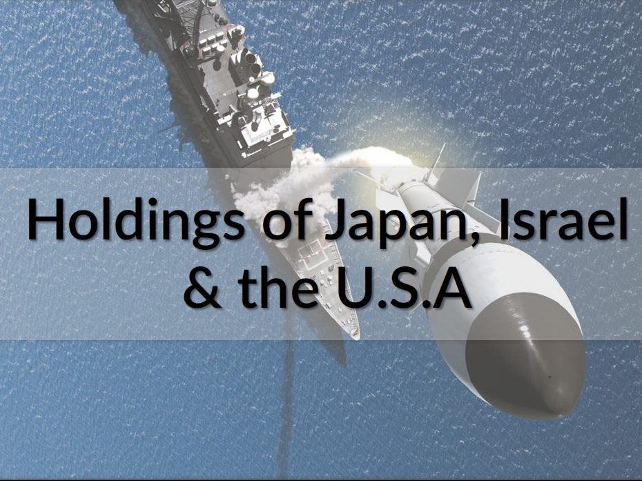 Holdings of Japan, Israel and USA