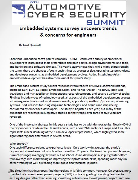 Embedded Systems Survey Uncovers Trends & Concerns For Engineers