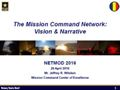 Mission Command Network Vision and Narrative