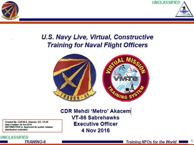 U.S. Navy Live, Virtual, Constructive Training for Naval Flight Officers