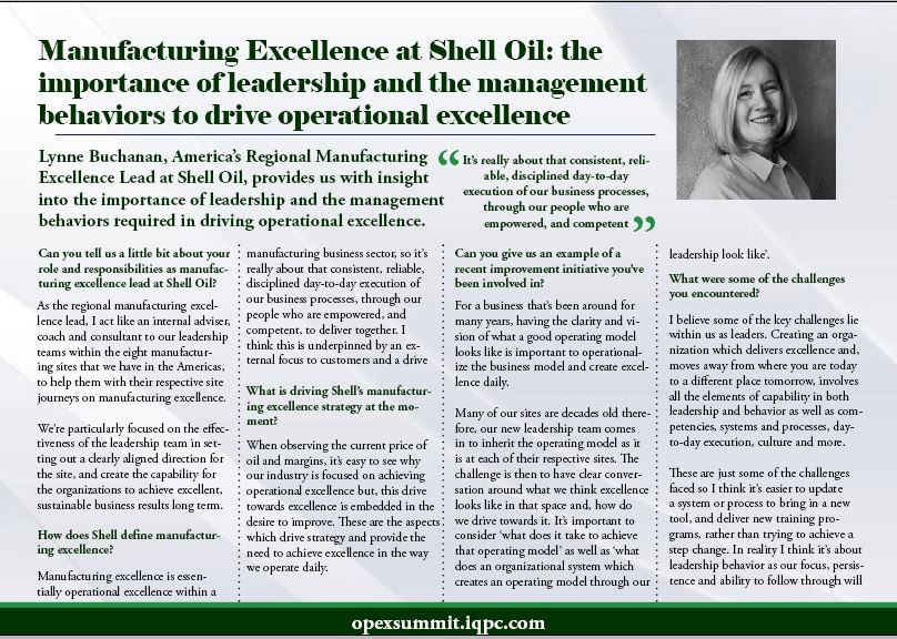Manufacturing Excellence at Shell Oil