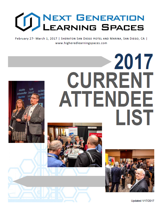 Next Generation Learning Spaces Current Attendee Snapshot